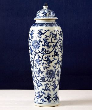 Blue and White Lotus Design Tall Temple Jar transitional food containers and storage