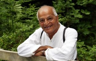 "Satish Kumar Quote on Peace:  What do you think is the greatest threat to world peace? ""Inertia. If people woke up to social and political power and connected to all beings, then change would happen."""