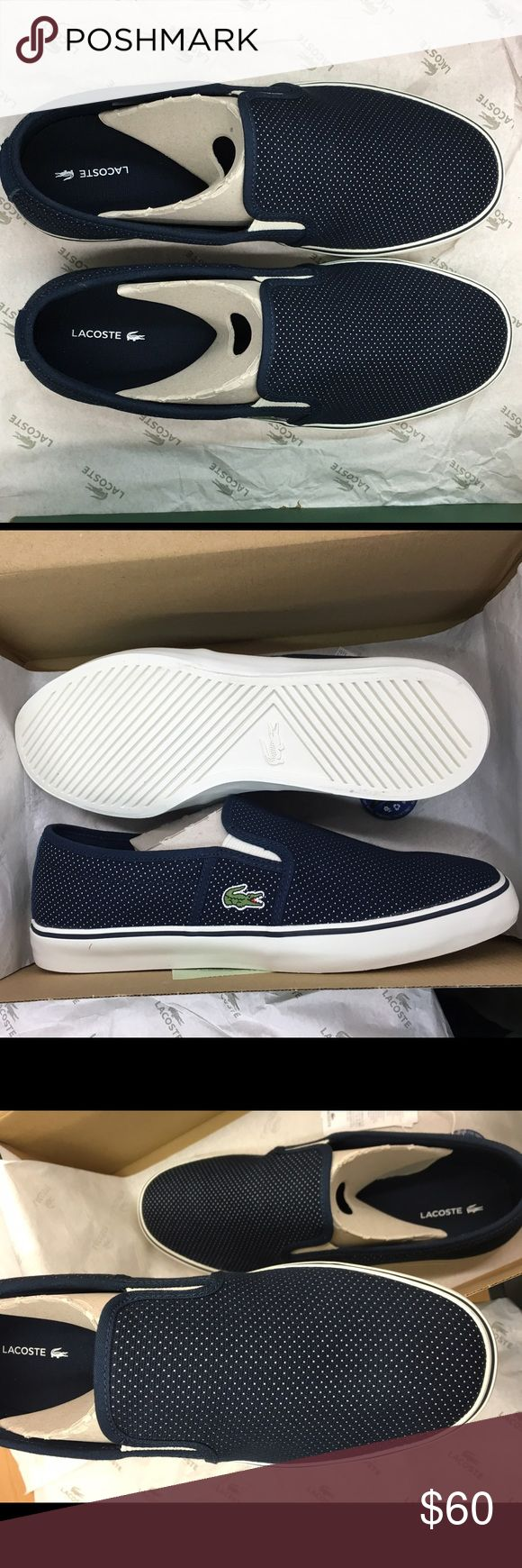 Women's Lacoste Gazon Slip On Navy Canvas. New with box. Lacoste Shoes Sneakers