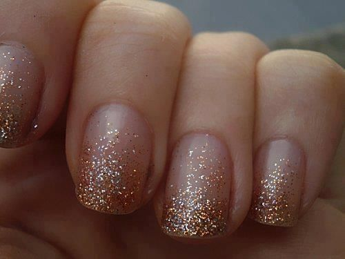 Clear polish to glitter... Sparkly nails!