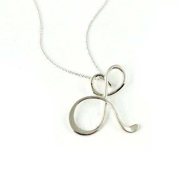 Large Calligraphy Initial Necklace in sterling by Laladesignstudio