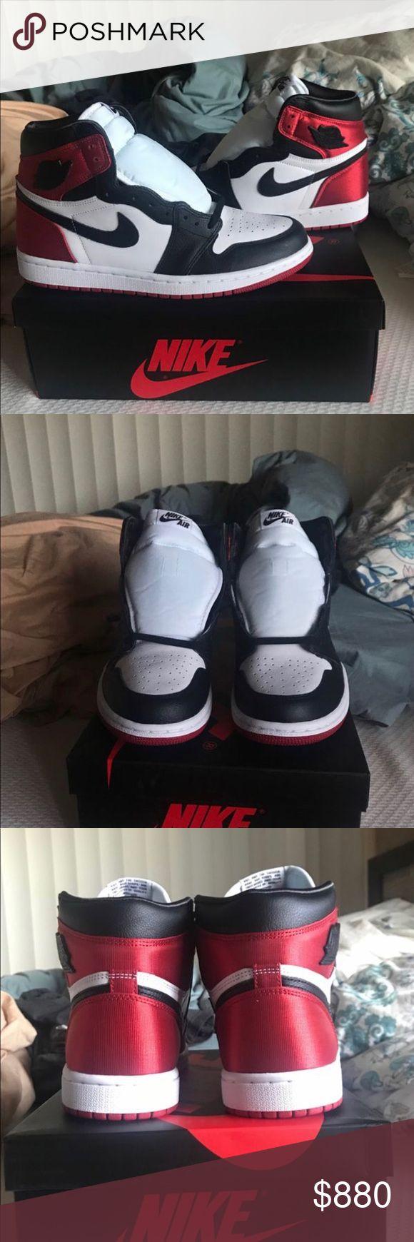 Jordan 1 satin black toe size 9.5 W / 8 M Brand New ! D.S