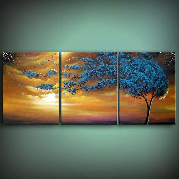 11 best multiple canvas art images on pinterest canvases for Three canvas painting ideas