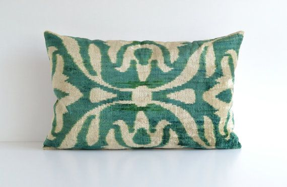 Velvet Ikat Pillow Green Cream White Handwoven Velvet by pillowme, $65.00