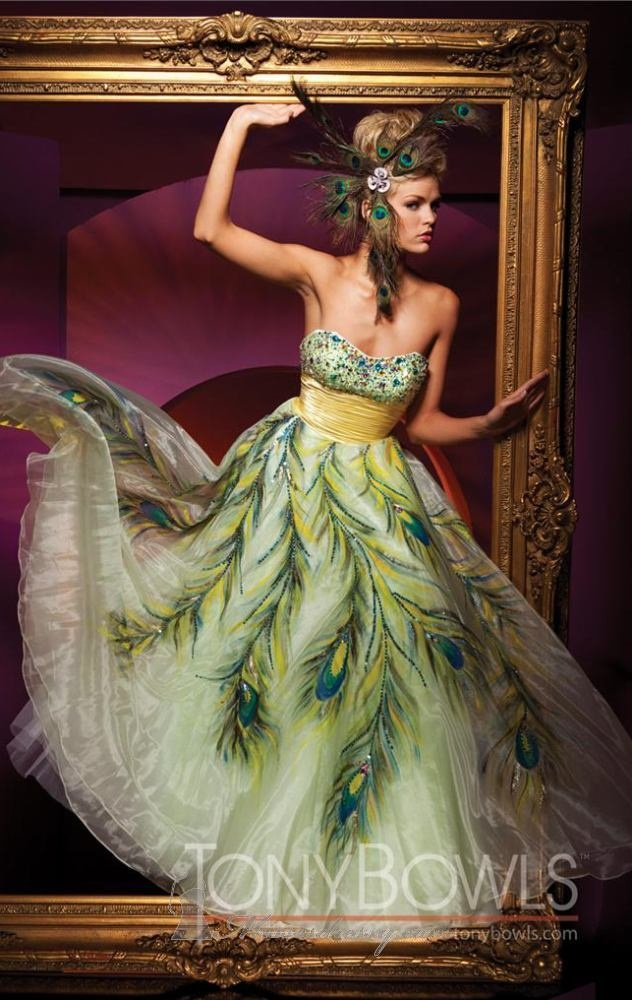 61 best mardi gras gowns images on pinterest prom for Peacock feather wedding dress vera wang 2009