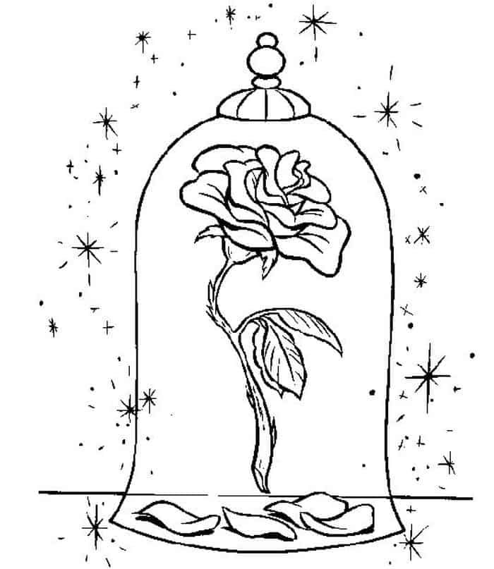 Printable Beauty And The Beast Coloring Pages In 2020 Rose