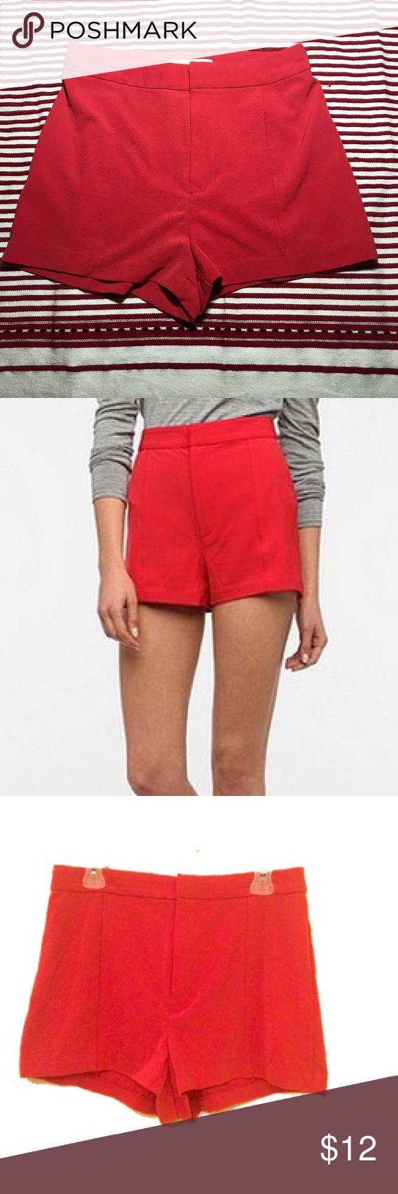 Urban Outfitters COOPERATIVE High Waisted Shorts Super cute red high waisted shorts by COOPERATIVE and sold at Urban Outfitters. These are in good condition, barely washed or worn. They do have a minor flaw. There is a little black pen mark or smudge on the butt. You can't tell when you're wearing them, and you might be able to get it out. Priced to sell! Cooperative Shorts
