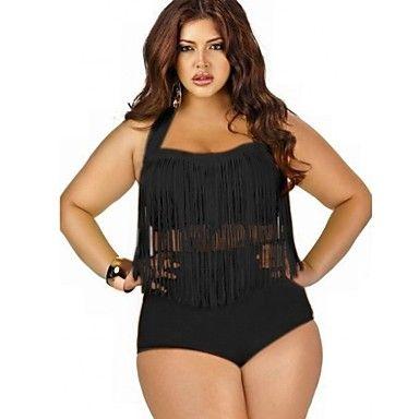 borla negro / azul / rojo más tamaño conjuntos de bikini, alta cintura de las mujeres – USD $ 15.99