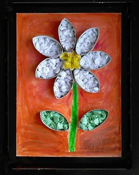 Blumen mit Klopapierrollen und Krepppapier – #blum…