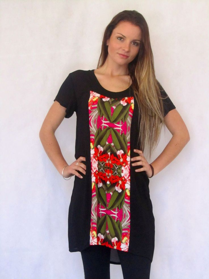Daily Tunic - Pink/Green  Tunic Dress with paneling detail and a pop of colour at the front!  Made in New Zealand.