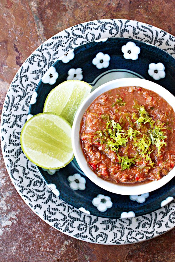 Thai Shrimp Paste Chili Relish (นำ้พริกผิวมะนาว) served with rice, steamed or fresh vegetable crudités, steamed or fried fish