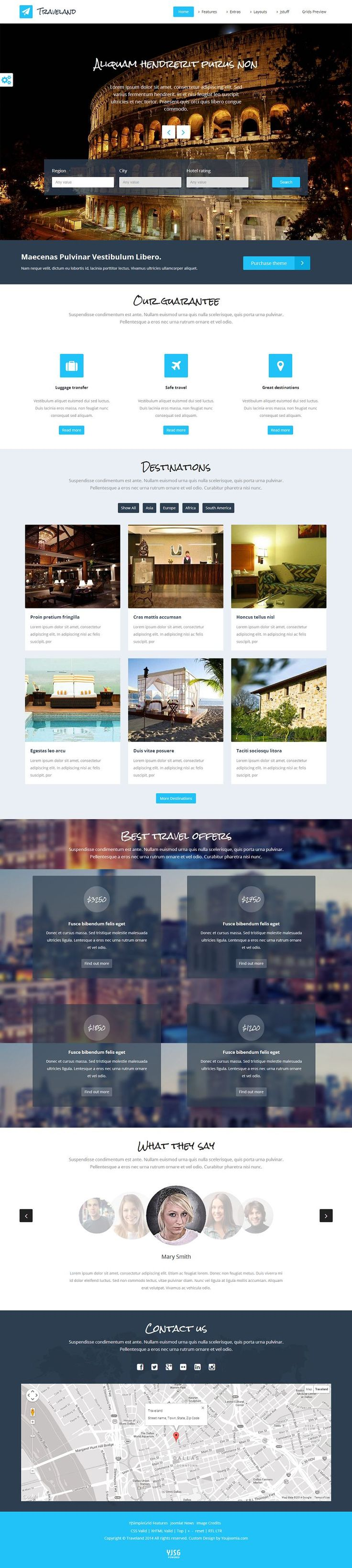 Real Estate Template%0A Traveland is an unique  flexible  flat and responsive Joomla template for  travel agencies  real estate websites or hotel presentation