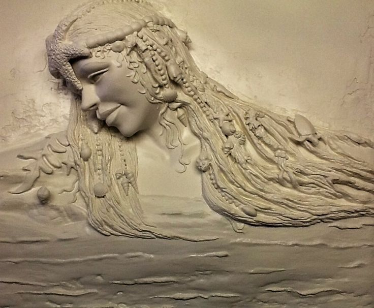 The mermaid by ellie ellis plaster high relief wall for Plaster wall art
