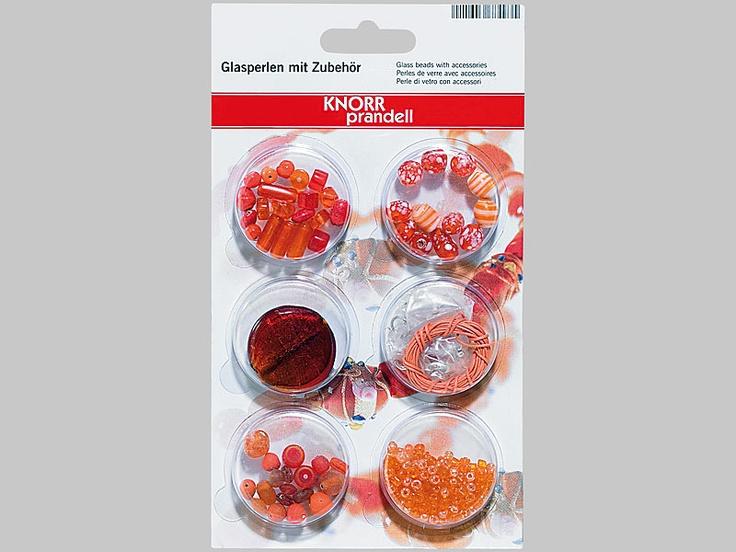 Bastelset mit über 180 Glasperlen & Zubehör, orange