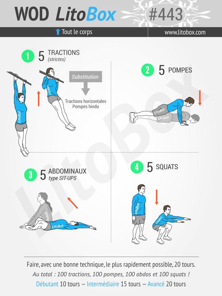 Musculation au poids du corps : WOD Angie fractionné. Au total : 100 tractions, 100 pompes, 100 abdos et 100 squats. Testez-le !