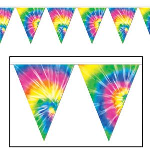 BE57740 - Banner Pennant Tye-Dyed Banner Pennant Tye-Dyed (25cm High x 3.65 Metres Long) all weather plastic, 12 pennants along length of banner. Please note: approx. 14 day delivery time.