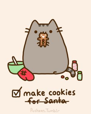 pusheen the cat gifs | pusheen the cat, pusheen, kitty, cookies, cute, christmas, cat
