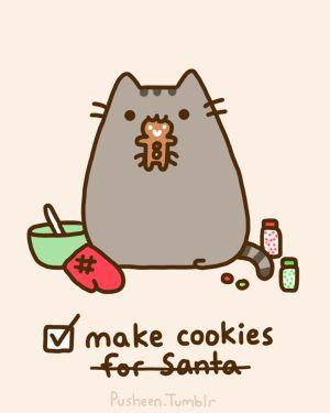 pusheen the cat gifs   pusheen the cat, pusheen, kitty, cookies, cute, christmas, cat