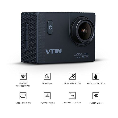 [Caméra étanche Wi-Fi] VTIN Caméra de Sport et Action Wi-Fi Haute Définition Full HD 1080p 12MP Caméscope d'action Etanche 30m Action Cam…
