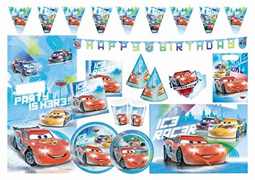 Procos 10108570B - Kinderpartyset - Disney Cars - Ice Racers, Größe XL, 66-teilig
