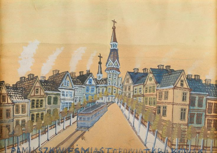 NIKIFOR KRYNICKI (WŁAŚĆ. EPIFANIUSZ DROWNIAK 1895 - 1968)  MIASTECZKO   akwarela, papier / 20 x 29 cm w świetle passe-partout