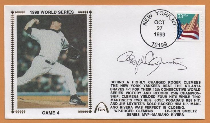 Roger Clemens BLEM 1999 World Series Clinch Autographed Gateway Stamp Envelope #NewYorkYankees
