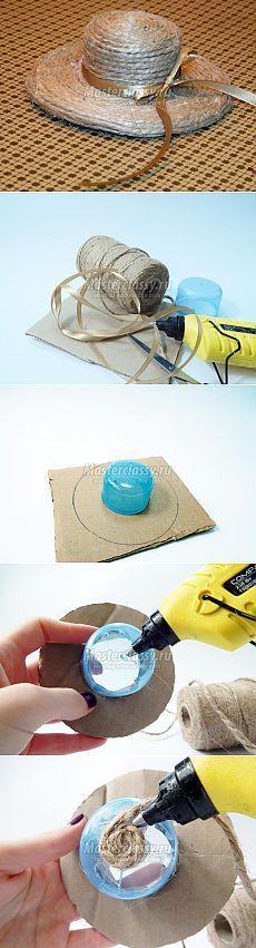 Миниатюрная шляпка из бечевки своими руками. Мастер-класс с пошаговыми фото