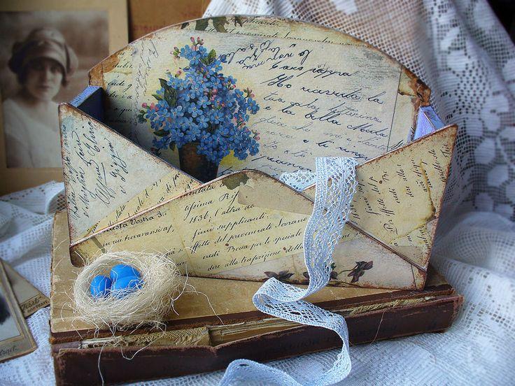 """Купить подставка """"письма из прошлого"""" - винтаж, для дома, письмо, бежевый, дерево, карта декупажная"""