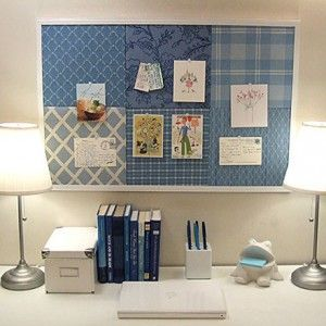 two-small-lamps-on-both-ends-of-desk-in-gorgeous-contemporary-home-office-design-with-fabric-cork-board-ideas-on-wall-over-office-desk-top-arrangement-also-desk-accessories