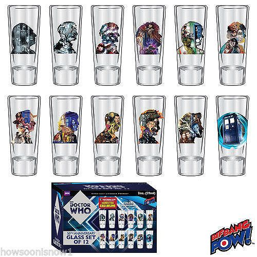 Doctor-Who-50th-Anniversary-2-oz-Glass-Set-of-12-TARDIS-11-Doctors-BBP-BNIP
