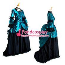 Azul libre del punky gótica de bola elegante medieval hecha por encargo vestido victoriano vestido cosplay(China (Mainland))