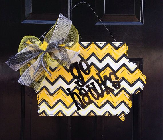 "Iowa State Hawkeyes ""Go Hawks"" Door hanger on Etsy, $35.00 - Totally making this myself but as UNI!!"