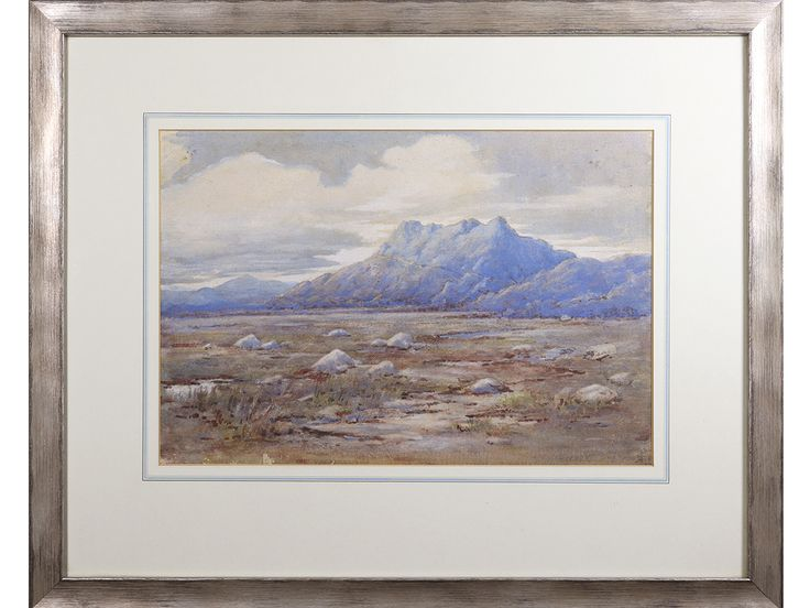 'Moorland Landscape' by Harbert Barkas. Antique watercolour, dated 1922.