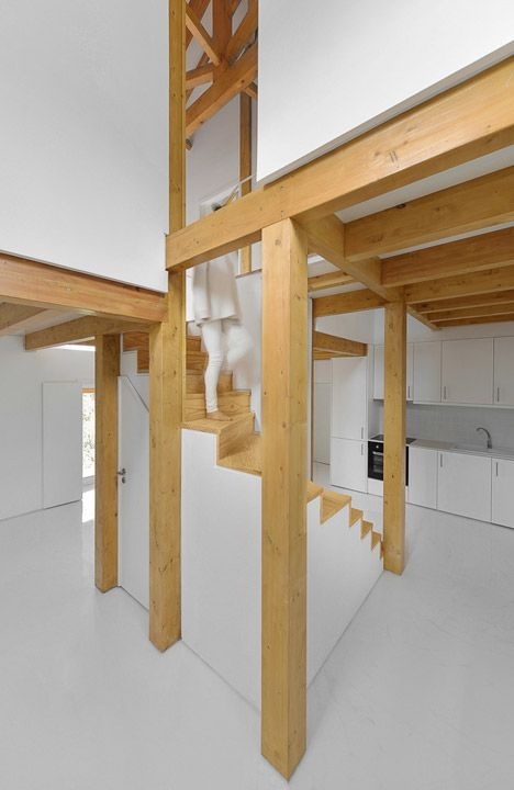 Wooden Trusses Support New Mezzanines Inside This