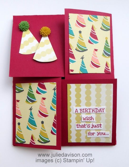 VIDEO & PDF tutorials for Quarter Fold Card with Stampin' Up! Birthday Basics DSP + Pennant Builder Punch Party Hats with In Color Dahlias www.juliedavison.com