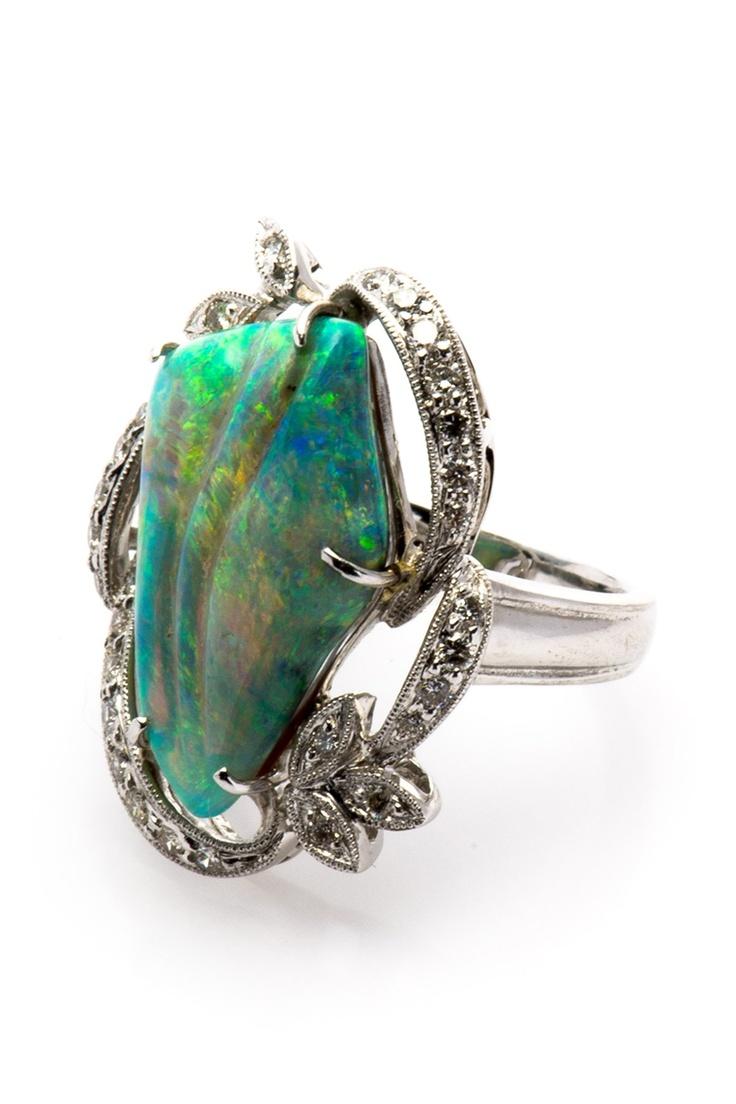 18K White Gold Organic Opal & Diamond Accented Estate Ring