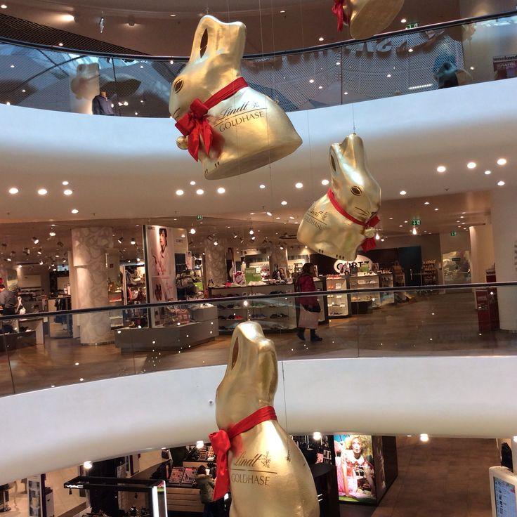 Giant Lindt bunnies floating in the air