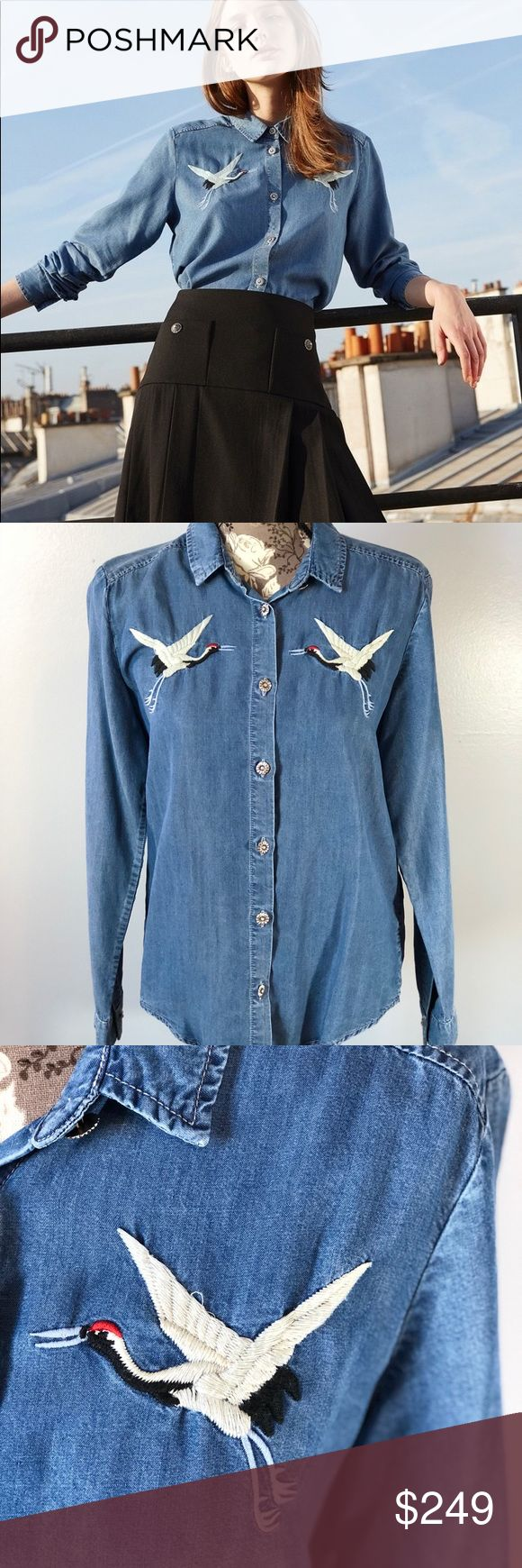 The Kooples Denim Embroidered Button Down Top Brand new! Comes from a smoke free home. Couple of threads loose as pictured The Kooples Tops
