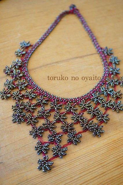 oya beaded crochet necklace