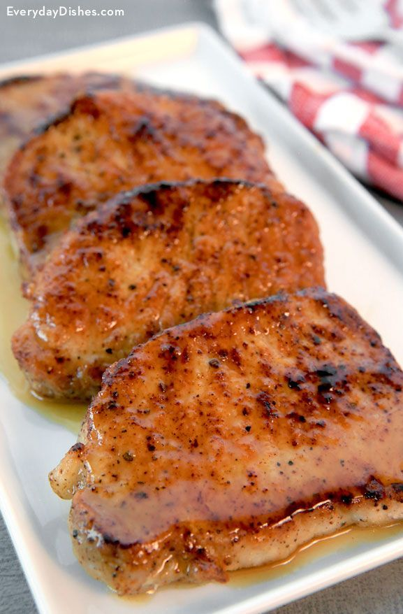 We absolutely love pork chops and therefore decided to create a sweet and savory dish using our favorite 'other white meat.' With the help of a little honey, apple cider and apple cider vinegar came the inception of our apple cider glazed pork chops recipe.  They are so moist and juicy you'll definitely keep this recipe on the 'fave' list!