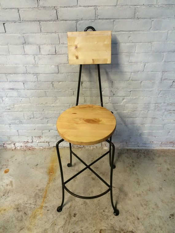 items similar to counter height stool wood stool bar stool wood commercial counter or bar stool elegant forged legs with round seat u0026 square back on etsy