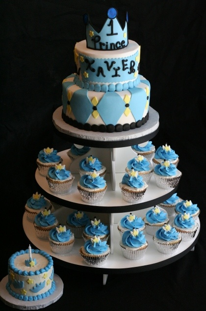 Royal Cake and Cupcake Tower for an adorable boys first birthday!