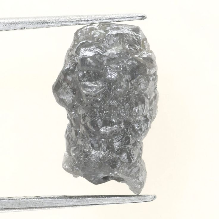 3.84 CTS RAW UNCUT NATURAL SILVER GRAY COLOR ROUGH NATURAL DIAMOND FOR JEWELARY