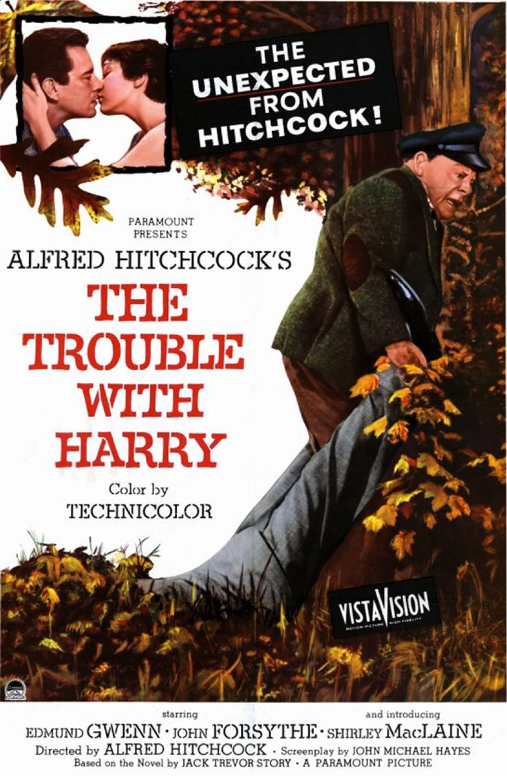 """Alfred Hitchcock's """"The Trouble With Harry"""" (1955) starring Edmund Gwenn, John Forsythe, Mildred Natwick and in her first film role Shirley MacLaine"""
