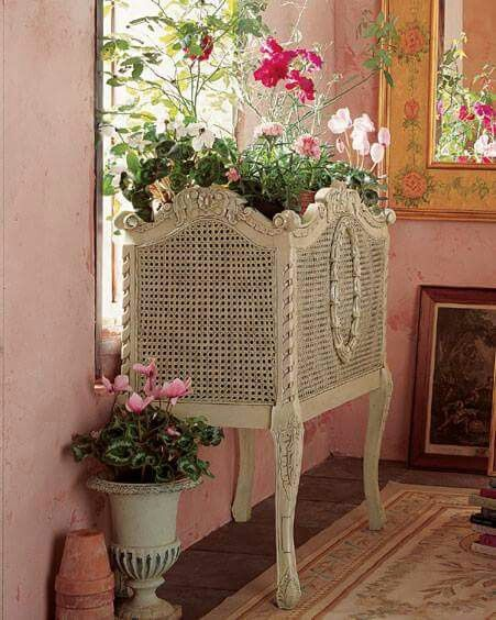 Caned French planter. Beautiful for a French Country or cottage home! #Frenchcountry #cottagestyle
