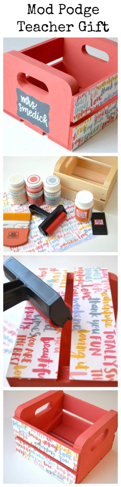 Mod Podge Teacher Gift - Storage Crate