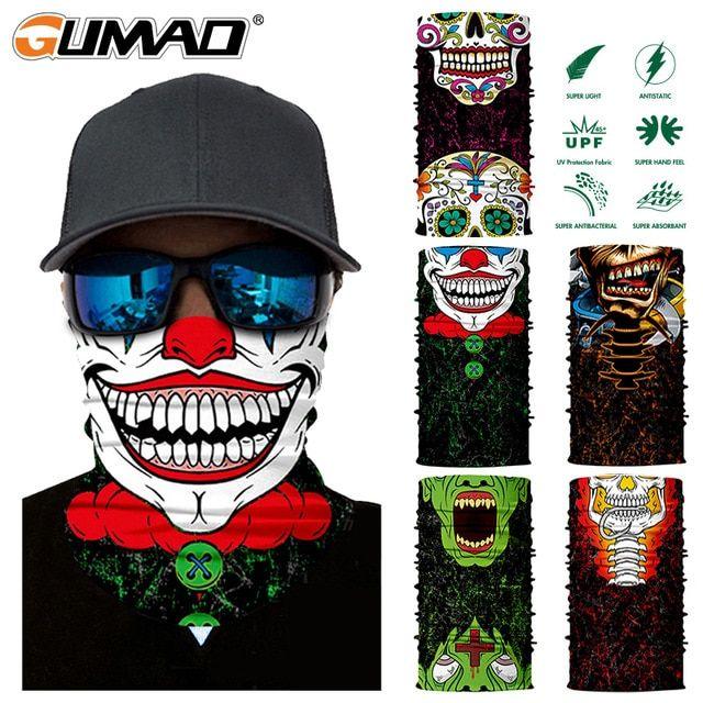 Skull Clown Face Scarf Balaclava Neck Gaiter Bandana Neckerchief Sun Headwear
