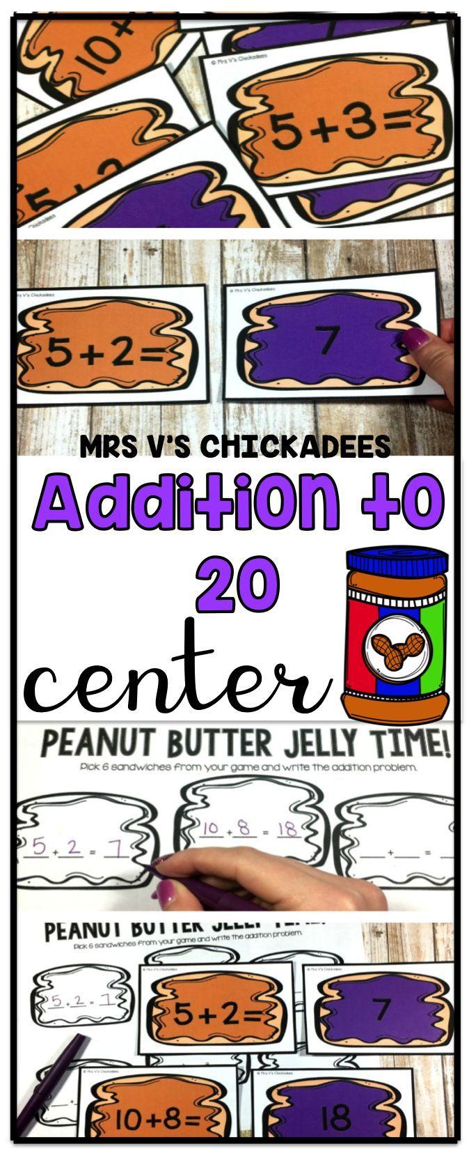 Addition Center | Math Stations | Addition to 20 Hands On Activity | Kindergarten Math Center | First Grade Math Center