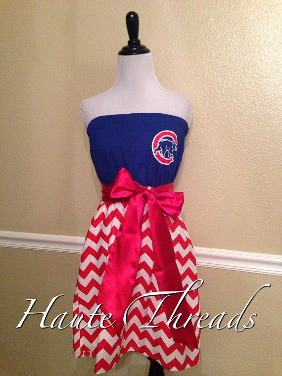 Chicago Cubs MLB Baseball Gameday Red Chevron Dress by hautethreadsboutique, $55.00