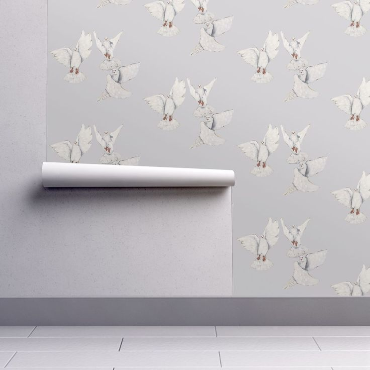 Isobar Durable Wallpaper featuring Dove_Flight_Mist by traceyharveydesigns | Roostery Home Decor
